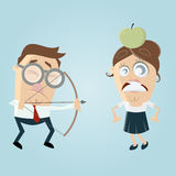Visually impaired man aiming at a woman with an apple on her head royalty free illustration