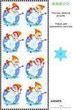 Visueel raadsel - vind twee identieke beelden - schaatsende sneeuwmannen Stock Afbeeldingen