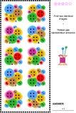 Visueel raadsel - vind twee identieke beelden van het naaien van knopen Stock Fotografie