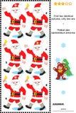 Visueel raadsel - vind twee identieke beelden van Kerstman Stock Foto's