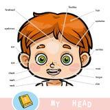 Visueel woordenboek voor kinderen over het menselijke lichaam, jongenshoofd vector illustratie
