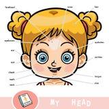 Visueel woordenboek voor kinderen over het menselijke lichaam, meisjeshoofd stock illustratie