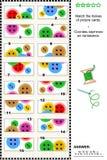 Visuele riddle - pas de helften aan - kleurrijke knopen Stock Afbeelding