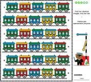 Visuele riddle - vind twee identieke treinen Stock Afbeeldingen