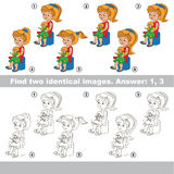 Visuellt hjälpmedellek Fynd dolde par av flickor vektor illustrationer
