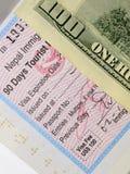 Visum aan Nepal, met een waarde van de V.S. 100 2017 Royalty-vrije Stock Afbeelding