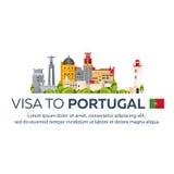 Visum aan Portugal Document voor reis Vector vlakke illustratie stock illustratie