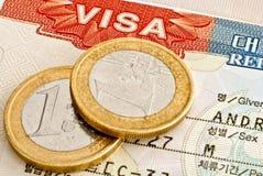 Visum en Euro muntstukken. Royalty-vrije Stock Afbeelding