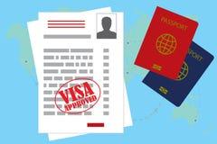 Visum genehmigte freien Raum oder Arbeitserlaubnis und Pass Lizenzfreie Stockbilder