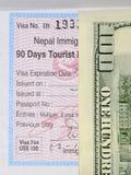 Visum nach Nepal, wert US 100 2017 Lizenzfreies Stockbild