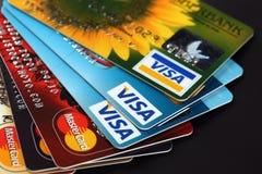Visum och Mastercard Royaltyfri Bild