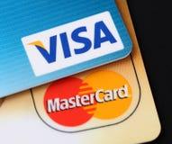 Visum- och Mastercard logoer Royaltyfri Bild