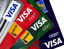 Visum plastic betaalkaarten stock fotografie