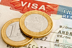 Visum und Euromünzen. Lizenzfreies Stockbild