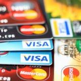 Visum und MasterCard Stockbilder