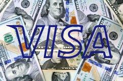 Visumembleem op geld Stock Foto