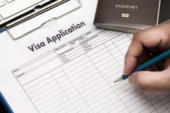 Visumsantragform, zu reisen Immigration ein Dokumentengeld für stockbilder