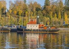 Visuvesi在小船港口 图库摄影