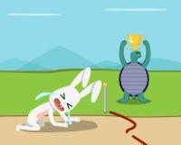 A vitória da tartaruga, coelho perde no meta, vetor ilustração royalty free