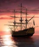 Vitória do almirante Nelson Flagship HMS na navigação no por do sol ilustração stock