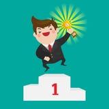 Vitória do homem de negócios um troféu da vitória Foto de Stock