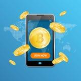 Vitória dourada do conceito da mineração de Bitcoin Vetor ilustração do vetor