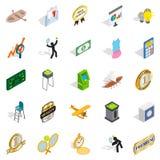A vitória em ícones da competição ajustou-se, estilo isométrico ilustração royalty free