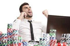 Vitória em linha do jogador de pôquer Fotografia de Stock Royalty Free