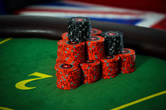 Vitória grande no pôquer no fundo Fotos de Stock