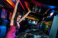 Vitória no slot machine Imagem de Stock Royalty Free