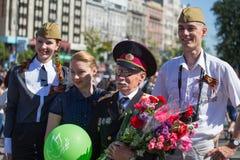 Vitória o 9 de maio de 2013 Kiev da parada, Ucrânia Fotos de Stock Royalty Free