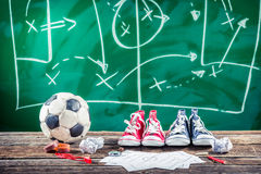 Vitória planeando o fósforo no futebol Fotos de Stock