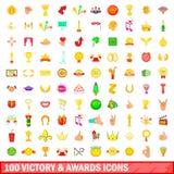 100 vitórias e ícones das concessões ajustaram-se, estilo dos desenhos animados Imagens de Stock Royalty Free