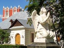 Vit ängel novodevichy kloster arkivfoton