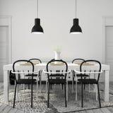 Vit äta middag tabell med svarta stolar arkivfoton