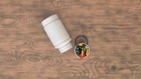 Vit öppen plast- flaska för mellanrum med piller vektor illustrationer