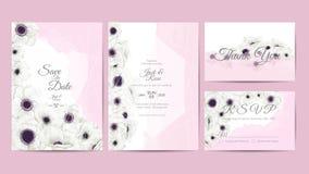 Vit Anemone Flowers Watercolor Wedding Invitation mall Handteckningsblomman och filialer sparar datumet, hälsning, tacka dig royaltyfri illustrationer