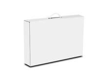 Vit ask med ett handtag Emballageask för bärbar dator Isolerat på vit arkivfoto