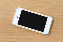 Vit av mobiltelefonen Arkivfoton