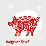 Vit bakgrund för beröm med svinet 2019 hälsningkort för lyckligt nytt år Royaltyfri Illustrationer
