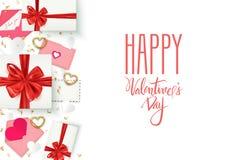 Vit bakgrund för lycklig valentin dagromantiker med gåvaaskar och dekorativa beståndsdelar, vektorillustration