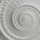 Vit bakgrund för modell för fractal för abstrakt begrepp för spiral för stuckaturstöpningsplasterwork Beståndsdel för bakgrund fö Royaltyfri Foto
