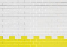 Vit bakgrund för modell för tegelstenvägg Vit modell för tegelstenvägg med den gula fästningen vektor illustrationer