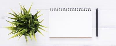 Vit bakgrund för tabell för kontorsskrivbord trämed öppen åtlöje upp anteckningsböcker och pennor och växt royaltyfri foto