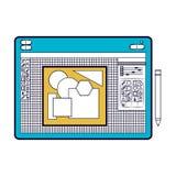 Vit bakgrund med färgavsnittkonturn av den grafiska tabellen för formgivare med geometriska diagram vektor illustrationer