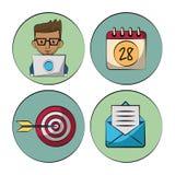 Vit bakgrund med färgrika cirklar med marknadsföringssymboler hur formgivare och kalender och mål och bokstav royaltyfri illustrationer