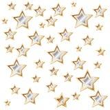 Vit bakgrund med skinande guld- stjärnor Arkivfoton