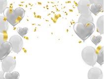 Vit bakgrund med vit sväller, glansiga ballonger vektor illustrationer