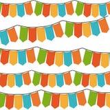 Vit bakgrund med uppsättningen av färgrika festoons i form av rektanglar Arkivbilder
