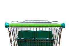 Vit bakre sikt för shoppingvagn arkivfoton